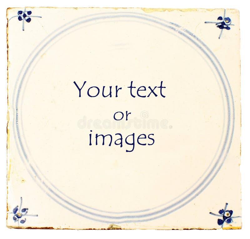 De Nederlandse blauwe tegel van Delft met ruimte voor tekst stock fotografie