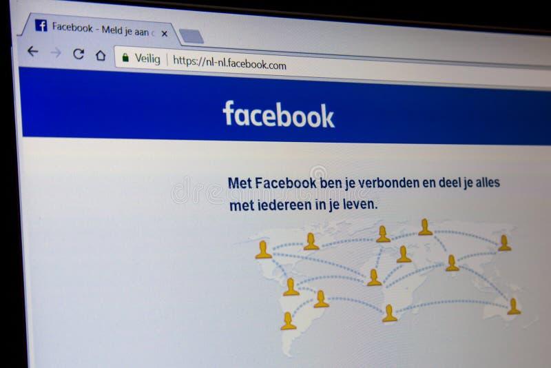 De Nederlandse homepage van Facebook met adresbar stock afbeelding