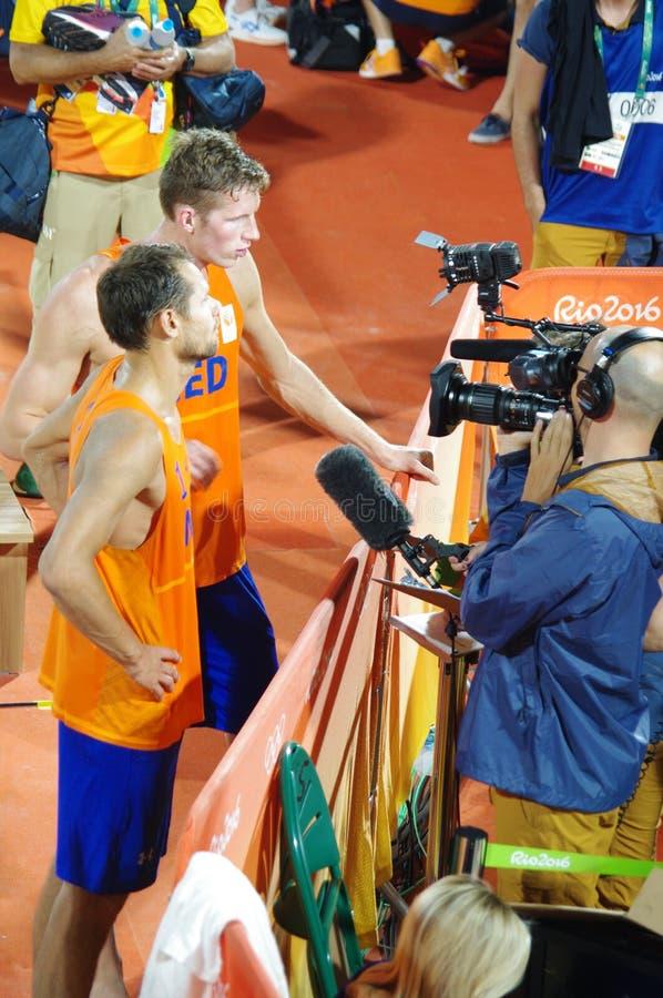 De Nederlandse spelers van het strandvolleyball bij Rio2016 royalty-vrije stock foto's