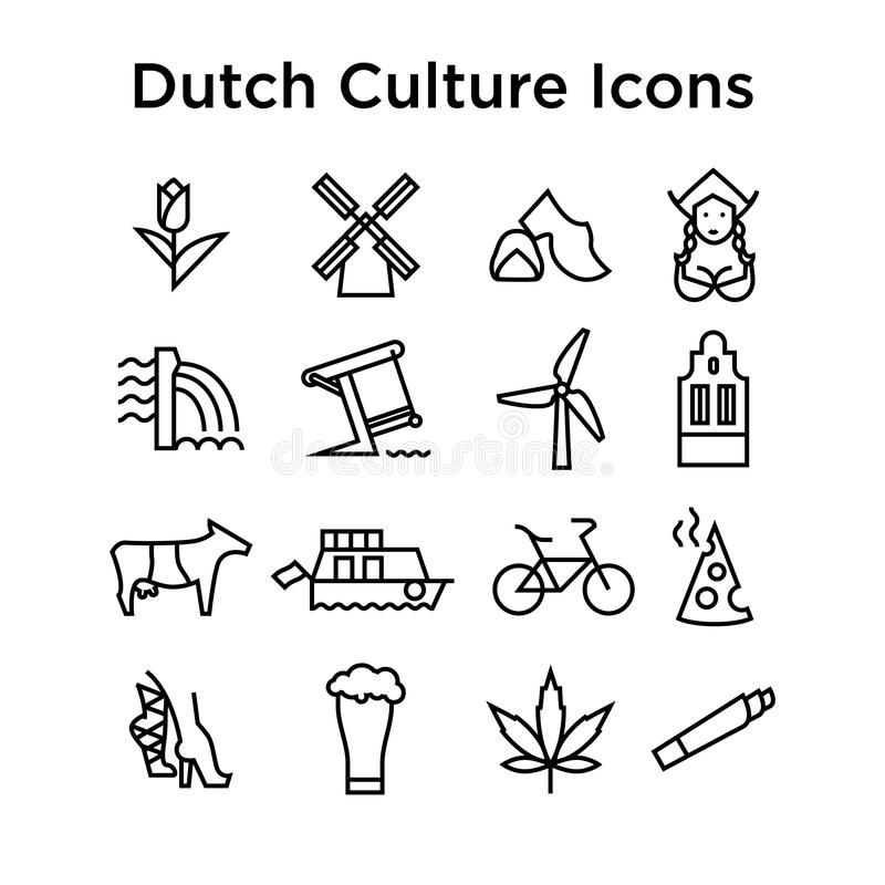 De Nederlandse Vectorreeks van Cultuurpictogrammen EPS royalty-vrije stock foto