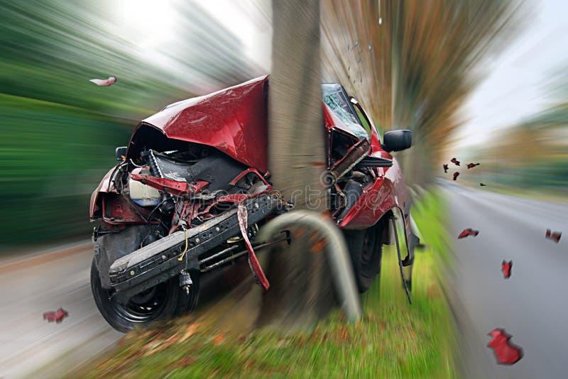 De Neerstorting van de auto stock afbeeldingen