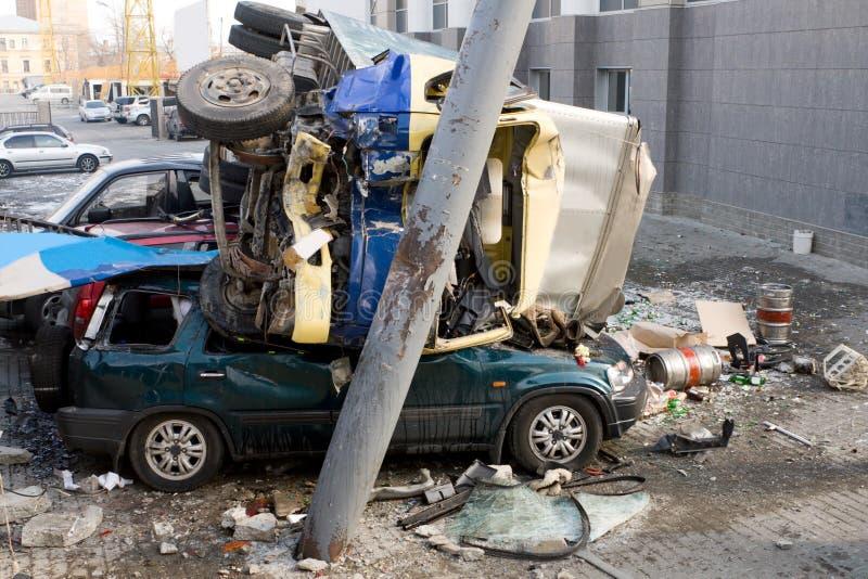 De Neerstorting van het Ongeval van de auto stock foto's