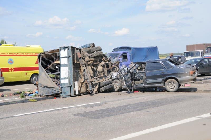 De Neerstorting van het Ongeval van de auto royalty-vrije stock afbeelding