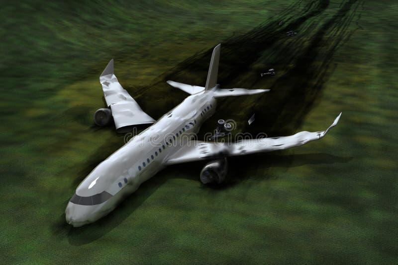 De neerstorting van het vliegtuig stock illustratie