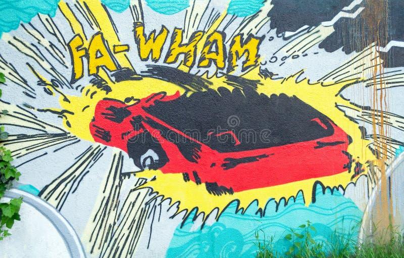 De neerstortingsart. van de graffitiauto stock foto