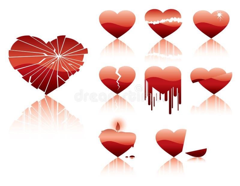 De neerstortingskarakter van harten stock illustratie