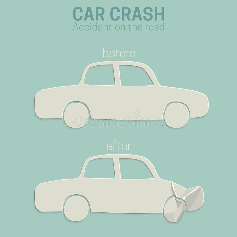 De neerstortingsongeval van de auto vector illustratie