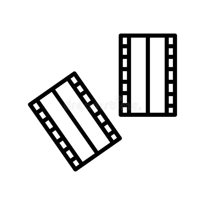 De negatieve die vector van het filmpictogram op witte achtergrond, Negatieve filmteken, lijn en overzichtselementen in lineaire  royalty-vrije illustratie