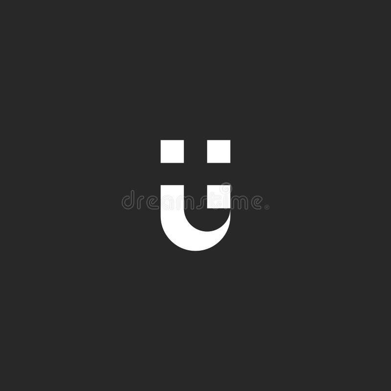 De negatieve ruimtestijl van het brievenut Embleem U en T van het combinatie zwart-wit symbool Het element van het typografieontw stock illustratie