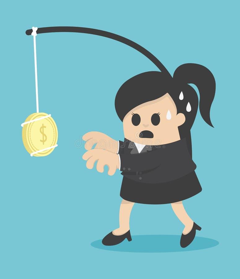 De negocios de la mujer dinero alluringly stock de ilustración