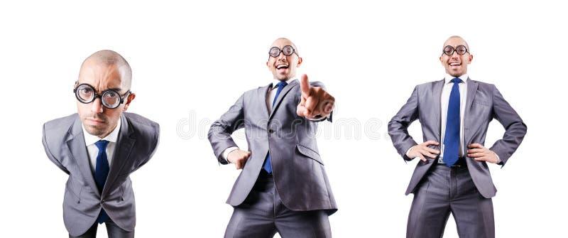 De nerd grappige zakenman op wit stock fotografie