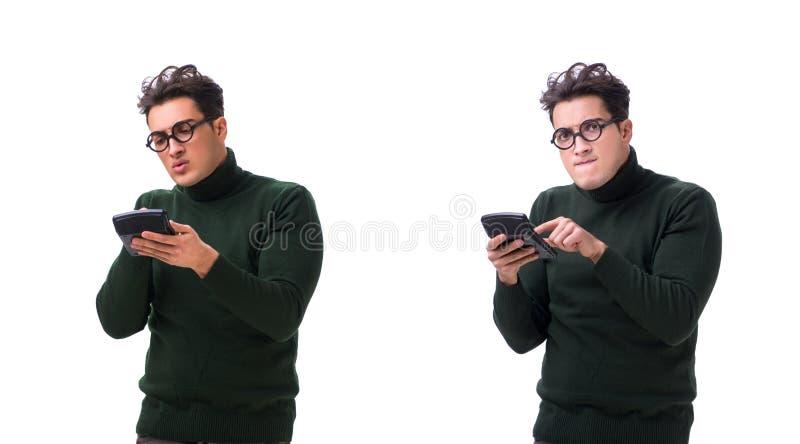 De nerd jonge die man met calculator op wit wordt geïsoleerd stock fotografie