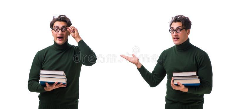 De nerd jonge die student met boeken op wit wordt geïsoleerd stock foto's