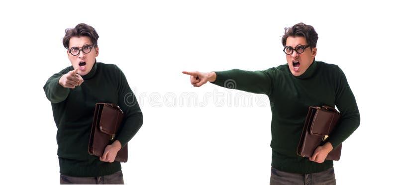 De nerdzakenman met aktentas op wit stock fotografie