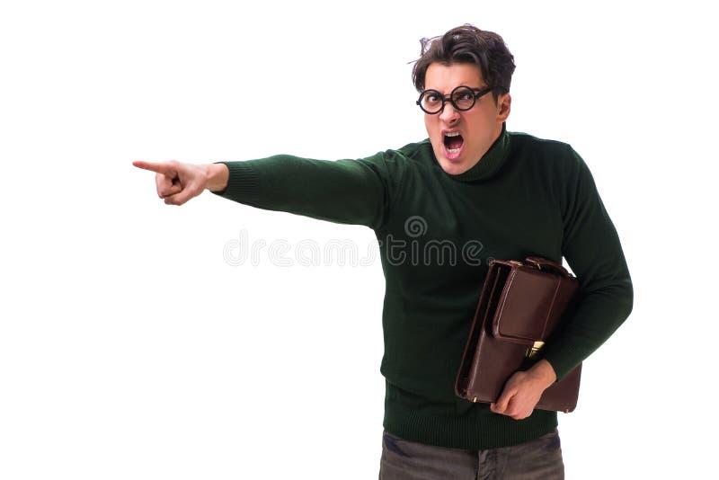 De nerdzakenman met aktentas op wit wordt geïsoleerd dat stock afbeelding