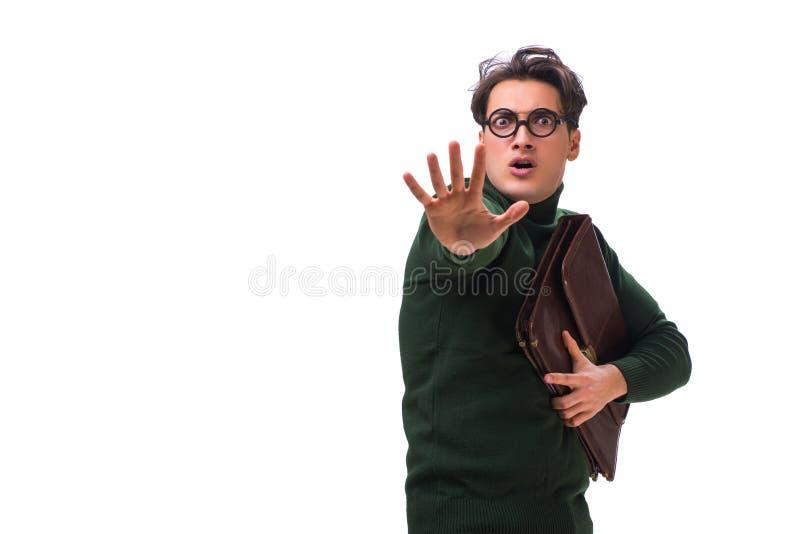 De nerdzakenman met aktentas op wit wordt geïsoleerd dat stock foto's