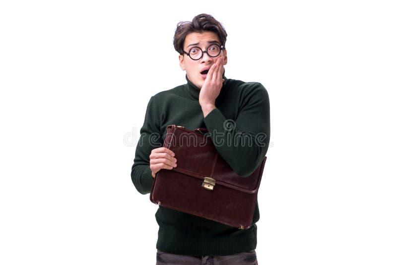 De nerdzakenman met aktentas op wit wordt geïsoleerd dat royalty-vrije stock afbeelding
