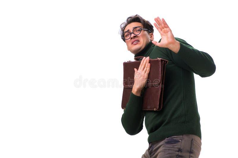 De nerdzakenman met aktentas op wit wordt geïsoleerd dat royalty-vrije stock fotografie
