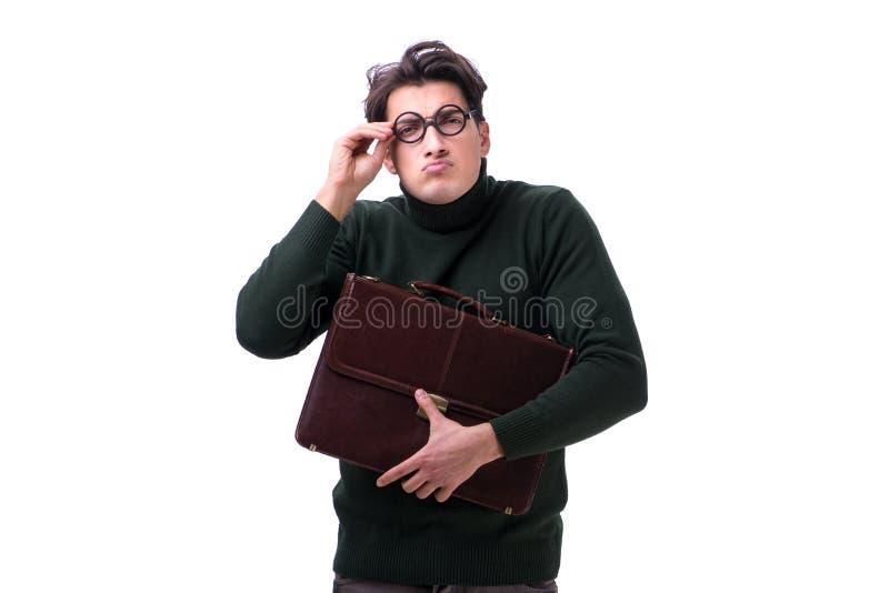 De nerdzakenman met aktentas op wit wordt geïsoleerd dat stock foto