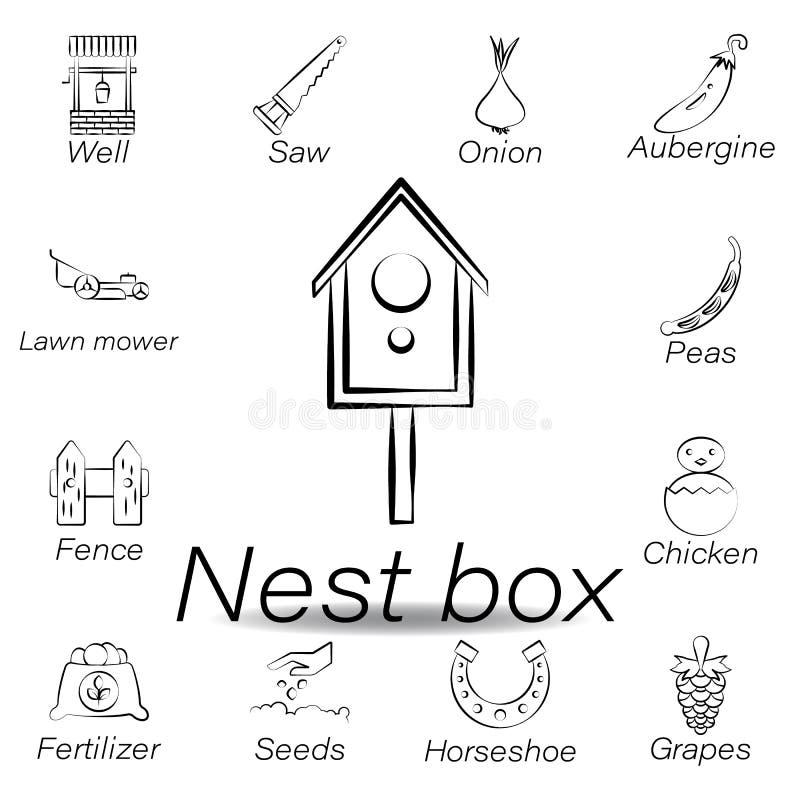 De nestkastjehand trekt pictogram Element van de landbouw van illustratiepictogrammen De tekens en de symbolen kunnen voor Web, e vector illustratie