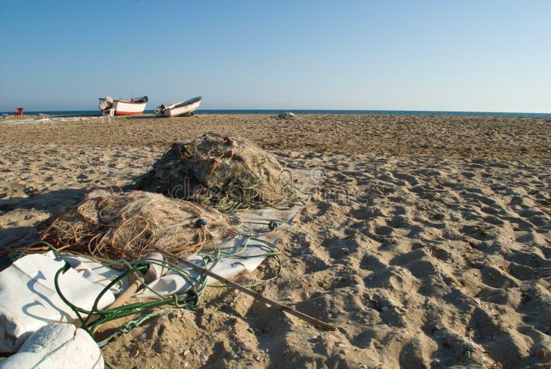 De netten van de vissers herstelden en klaar royalty-vrije stock foto