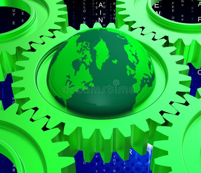 De netwerkcomputer vertegenwoordigt Globale Mededelingen en Gegevensverwerking vector illustratie