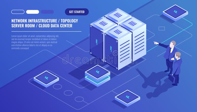 De netwerkinfrastructuur, de topologie van de serverruimte, wolkengegevens centreert, zakenman twee, gegevensanalyse en statistie vector illustratie