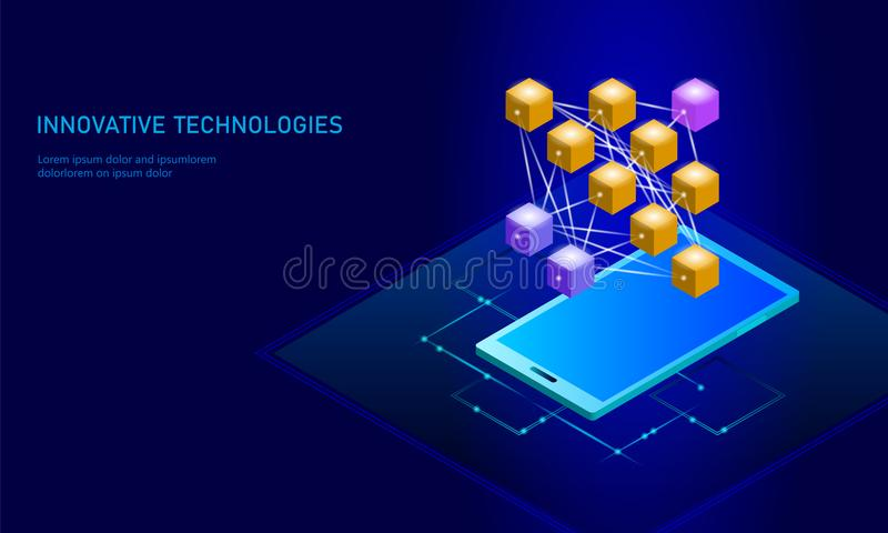 De neurale cel van netwerk diepe lerende smartphone Cognitief technologieconcept Logisch kunstmatige intelligentiegeheugen vector illustratie