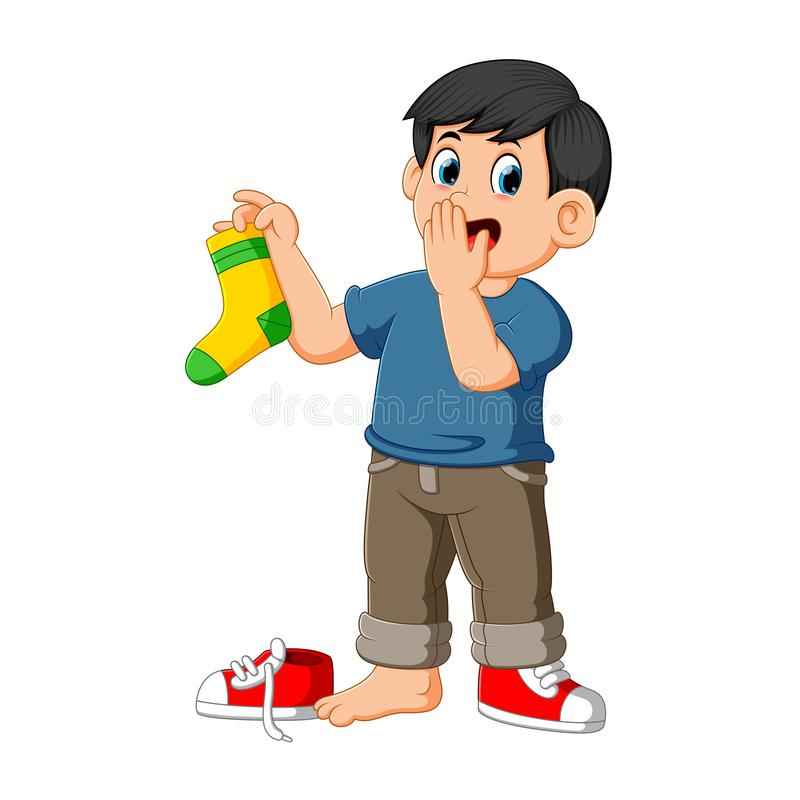de neus van mensengrepen met vingers die een stinkende sok houden vector illustratie