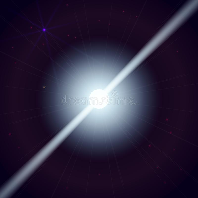 De neutronenster maakt de golven van de stralingsstraal in het diepe heelal Vector illustratie vector illustratie