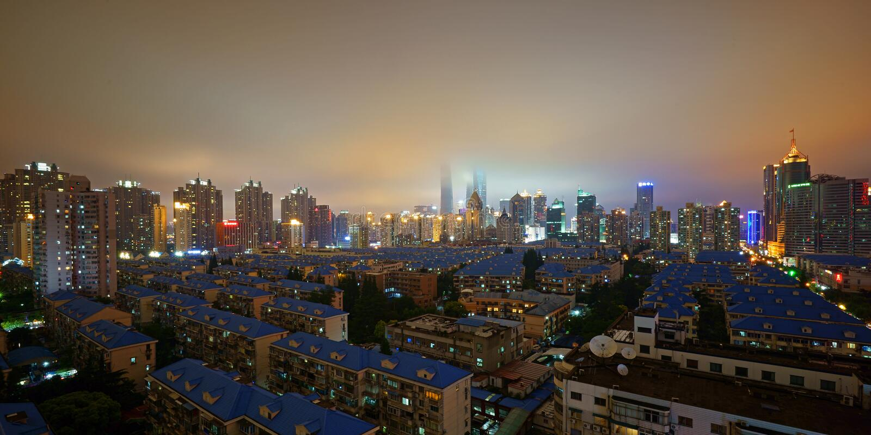 De nevel in Pudong, Shanghai stock fotografie