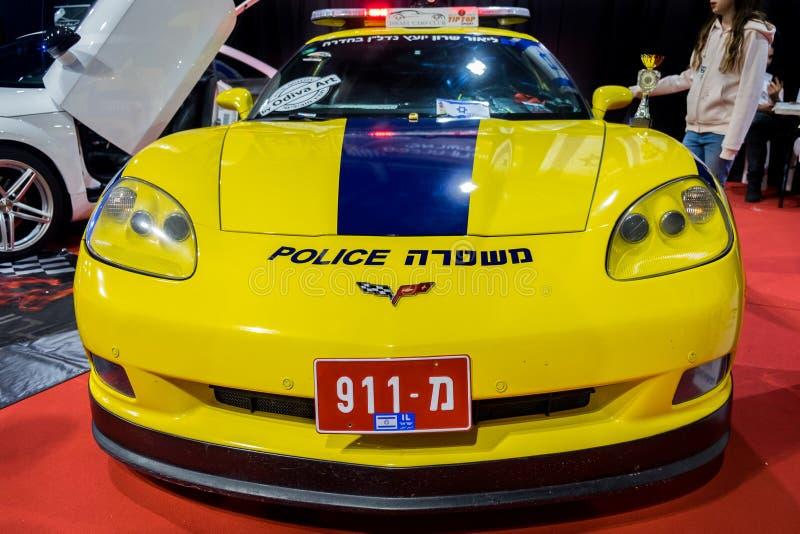 De niet echte politiewagen van Israël - Chevrolet-Korvet royalty-vrije stock afbeelding