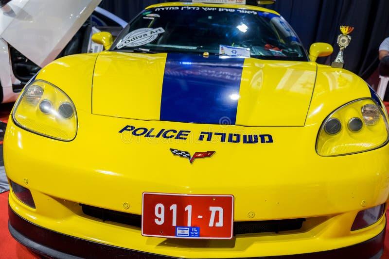 De niet echte politiewagen van Israël - Chevrolet-Korvet stock afbeelding