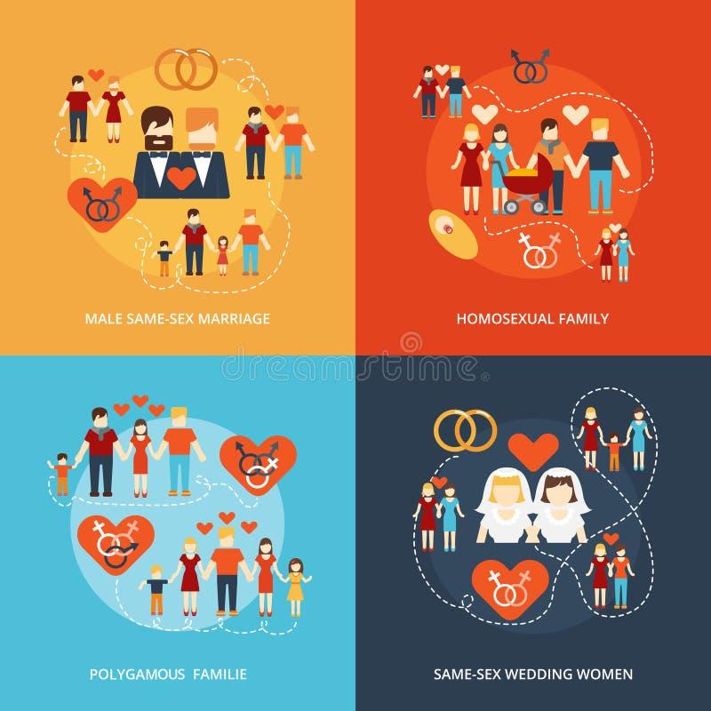 De niet-traditionele samenstelling van familiepictogrammen royalty-vrije illustratie