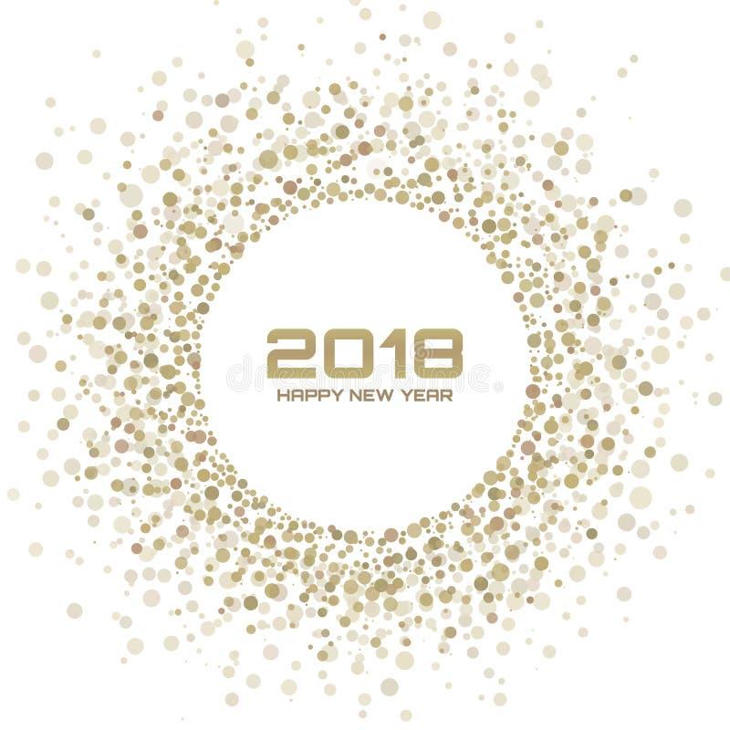 De nieuwe achtergrond van de jaar 2018 kaart Het gouden Lichte Halftone Kader die van de Kerstmiscirkel de textuur van de cirkelp royalty-vrije illustratie