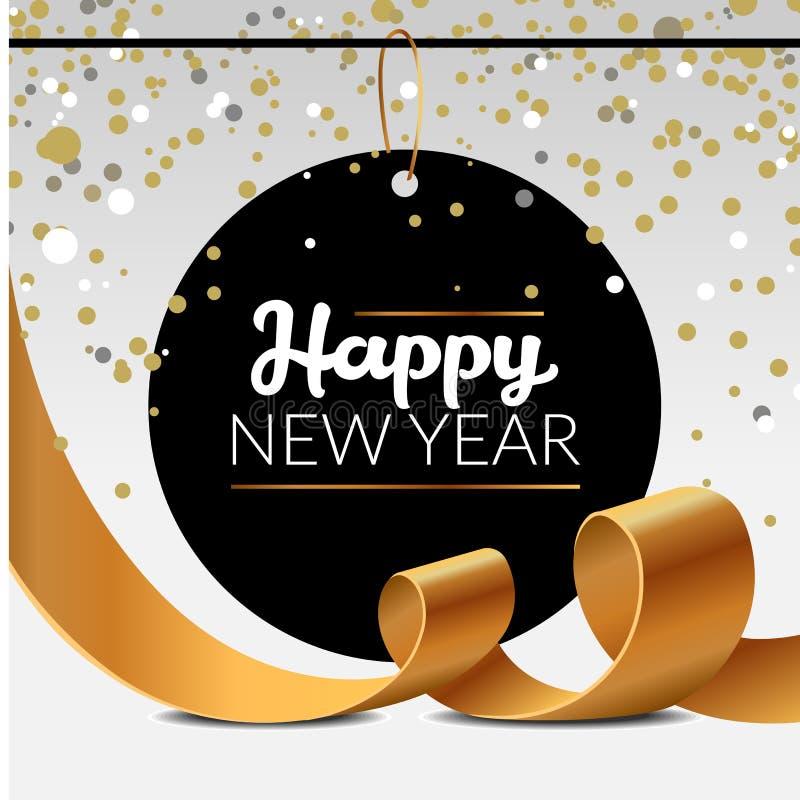 De nieuwe affiche van de jaarluxe met de gouden klatergoud en fonkelingslinten van de confettienpartij Vectorillustratie van goud royalty-vrije stock foto's
