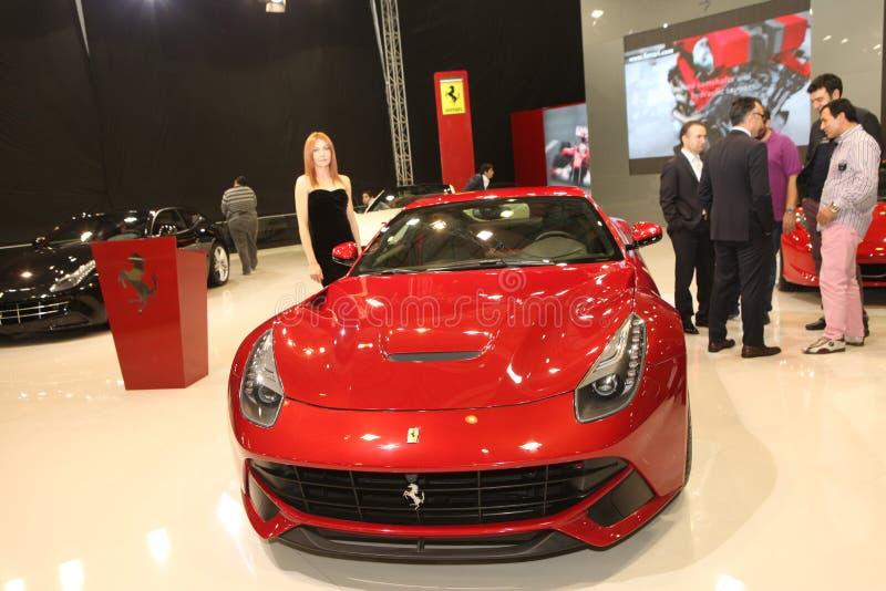 De nieuwe auto Ferrari in Istanboel Autoshow stock afbeelding