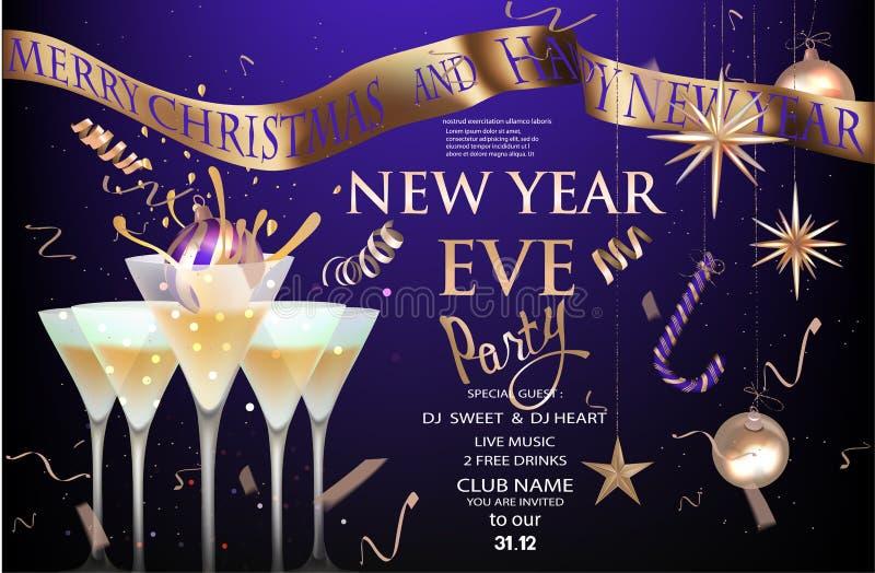 De nieuwe banner van de jaarvooravond met glazen met cocktail en Kerstmisdecoratie Goud en purple royalty-vrije illustratie