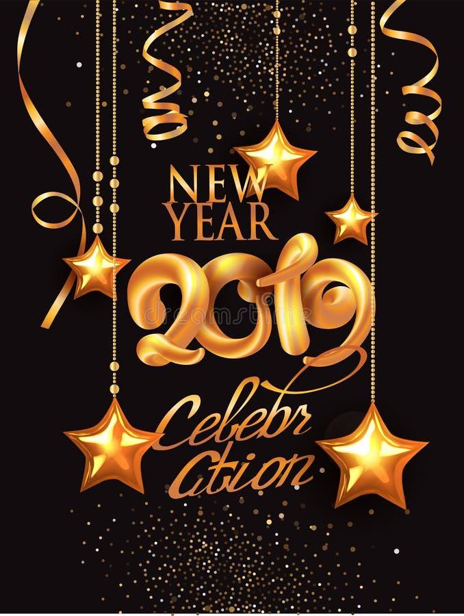 De nieuwe decoratie van de de uitnodigingskaart van de jaar 2019 viering withgold en volumeaantallen stock illustratie