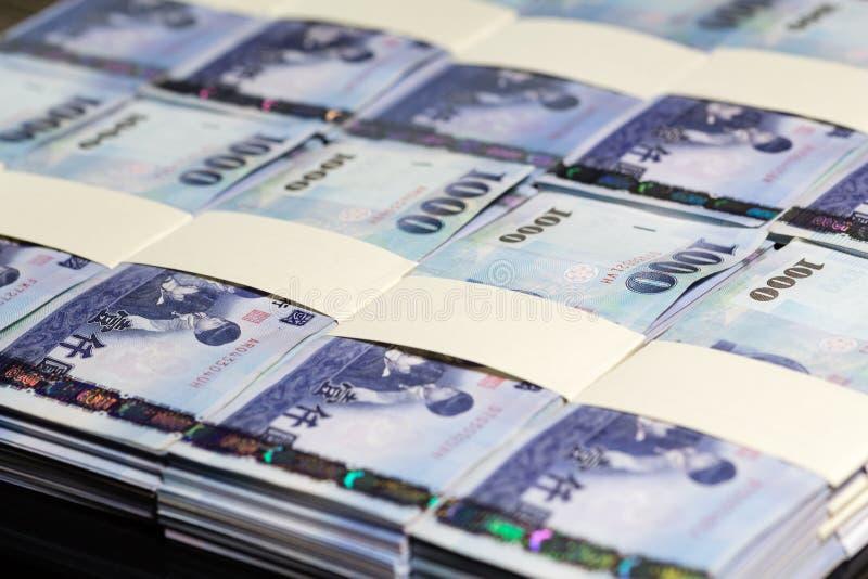 De nieuwe Dollars van Taiwan in stapels royalty-vrije stock fotografie