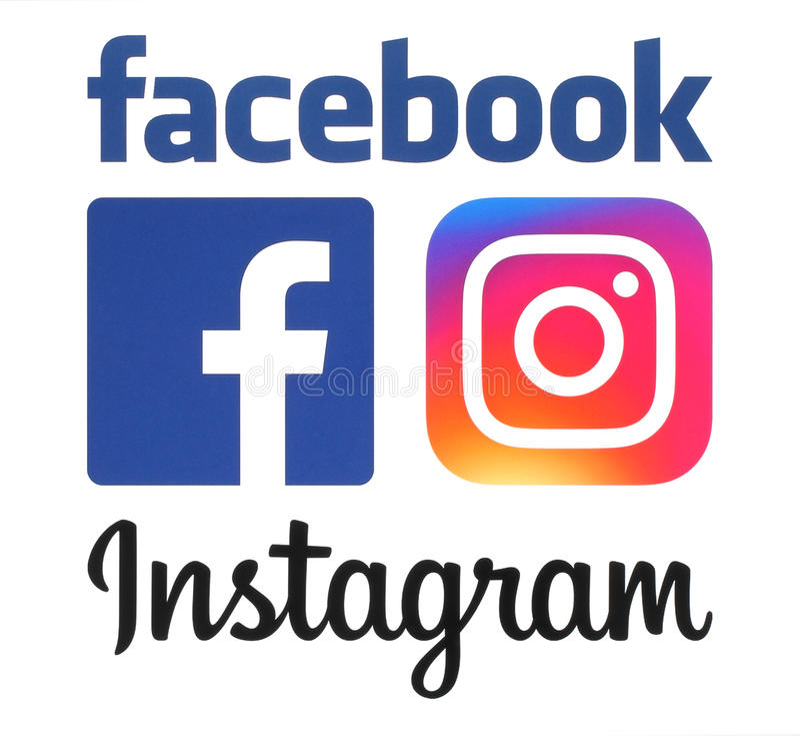 De nieuwe emblemen van Instagram en Facebook-