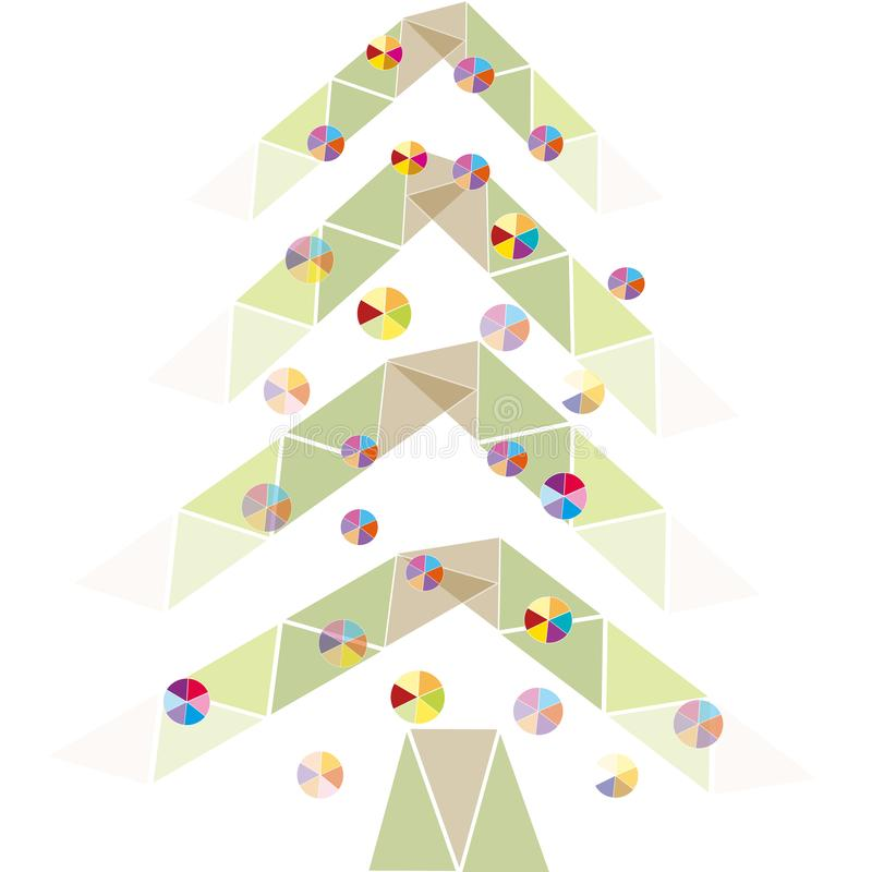 De nieuwe geometrische Kerstboom van de jaarvakantie stock illustratie