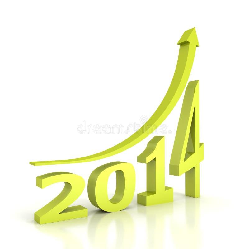 De nieuwe groei van de jaar 2014 groene pijl omhoog stock illustratie