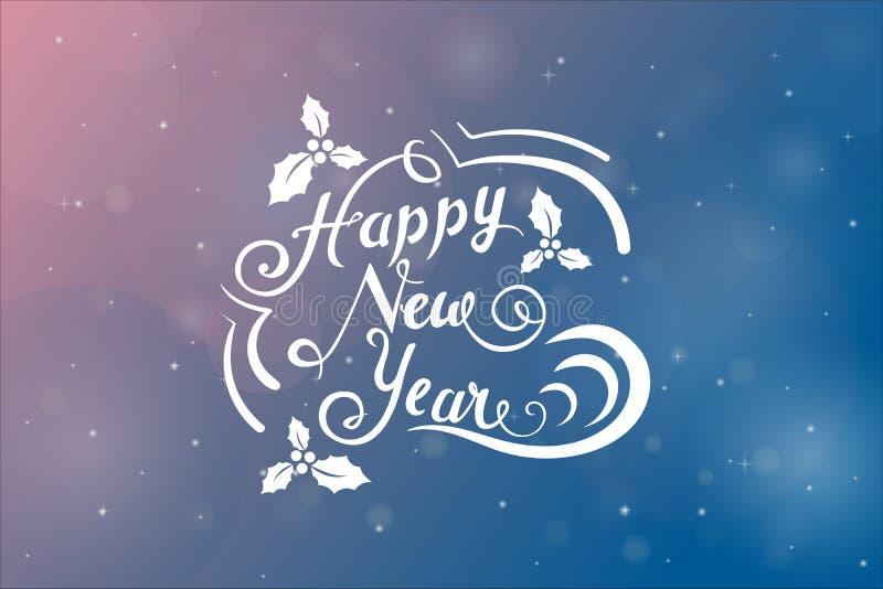 De nieuwe jaarwens in vakantie stileerde ornament over roze en blauwe achtergrond met blury sneeuwvlokken vector illustratie