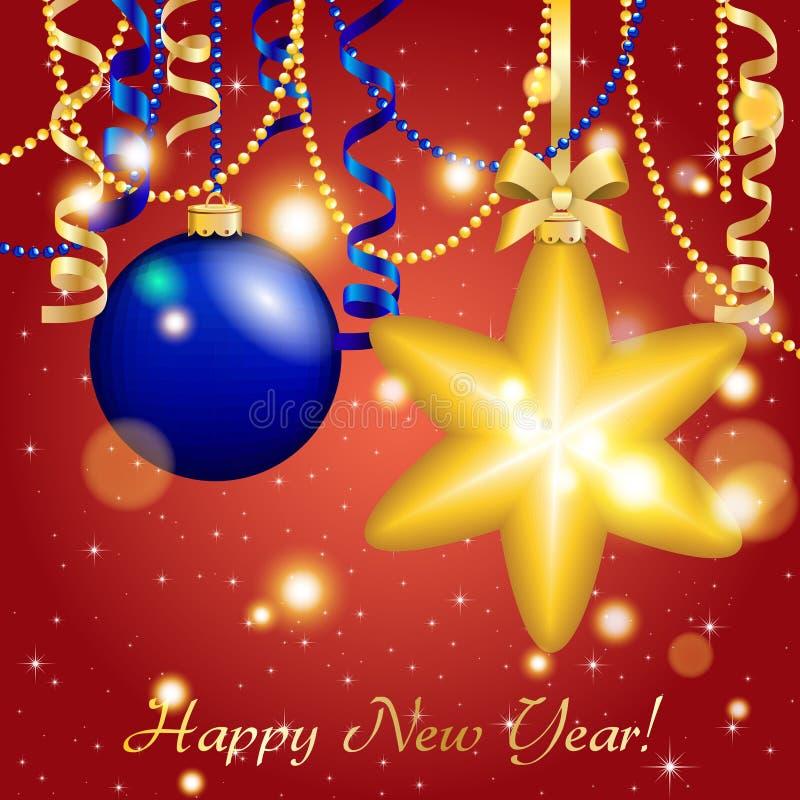 De nieuwe kaart van de jaargroet De Bal van de Kerstmisster met boog en lint Kerstmisdecoratie Fonkelingen en bokeh Glanzend en g royalty-vrije illustratie