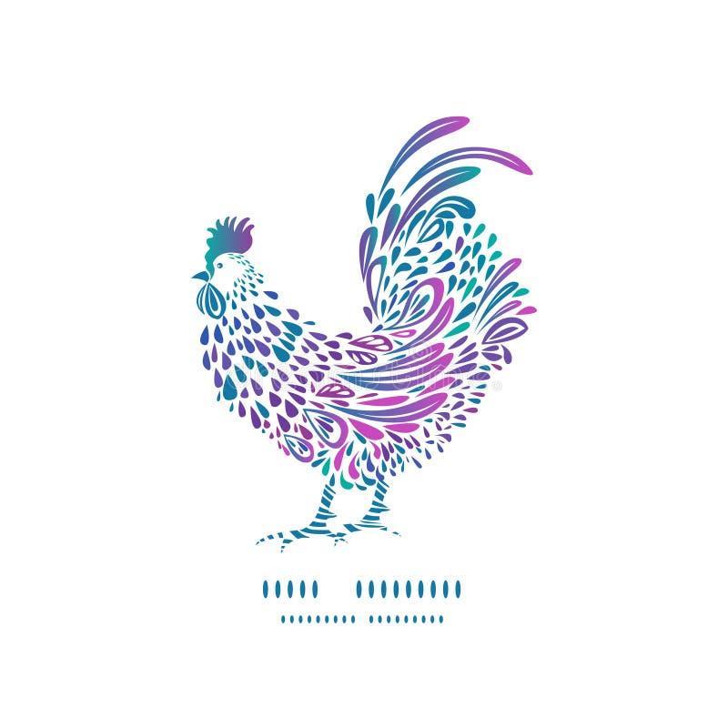 De nieuwe kaart van de jaargroet met kleurrijk haansilhouet stock illustratie