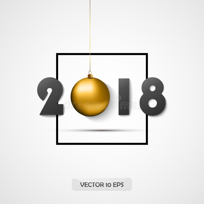 2018 De nieuwe kaart van de jaargroet Vector Gouden bal Logotype voor 2018 Nieuwjaarpartij vector illustratie