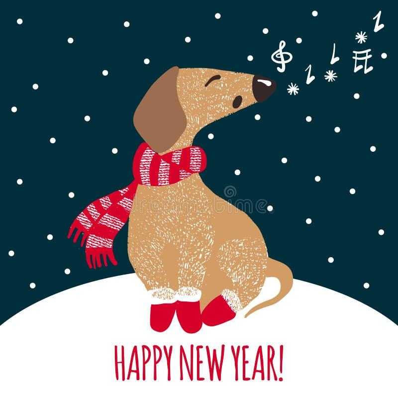 De nieuwe kaart van de jaargroet met leuke hond royalty-vrije illustratie
