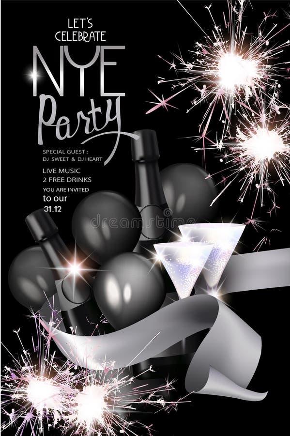 De nieuwe kaart van de de partijuitnodiging van de jaarvooravond met sterretjes, fles champagne, lint en glazen stock illustratie