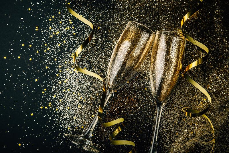 De nieuwe partij van de jaarviering met champagneconcept royalty-vrije stock fotografie